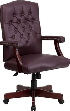 Bulk Lot 12 Lemoderno Martha Washington Burgundy Leather Executive Swivel Chair with Arms