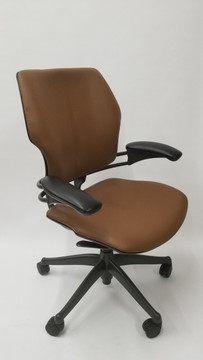 Humanscale Freedom Chair Fully Adjustable Model Light Brown Leather