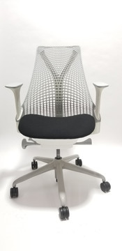 Herman Miller Sayl Chair White and Gray Frame and Black Seat