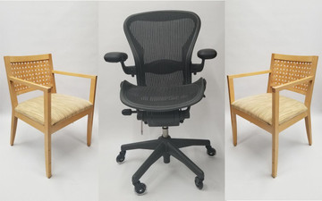 Herman Miller Aeron Chair Set Qty 2 Ofs Brio Guest Side Chairs