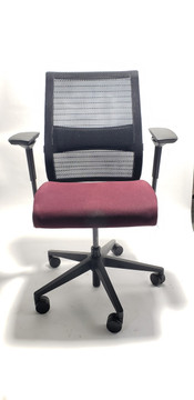 Steelcase Think Chair Black Mesh Back and Burgundy Seat