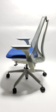 Herman Miller Sayl Chair White and Gray Frame and Blue Seat