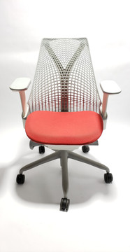 Herman Miller Sayl Chair White and Gray Frame and Red Seat
