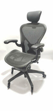 Herman Miller Aeron Chair Fully Featured with Posturefit Size B FREE Leather Arm Pads, FREE Rollerblade Casters, FREE Headrest