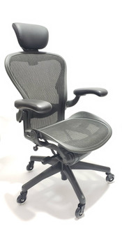 Herman Miller Aeron Chair Fully Featured Size B Gray, FREE Headrest, FREE Rollerblade Casters
