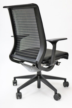 Think Chair By Steelcase Black Fabric Seat and Black mesh Great for Conference Room