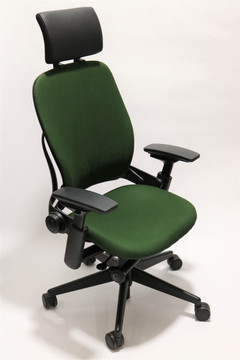 Steelcase Leap Chair V2 Green Fabric With Headrest