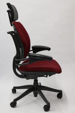 Humanscale Freedom Chair Added Headrest Fully Adjustable Model Burgundy Fabric