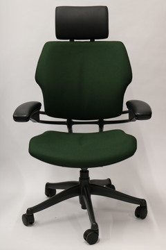 Humanscale Freedom Chair Added Headrest Fully Adjustable Model Green Fabric