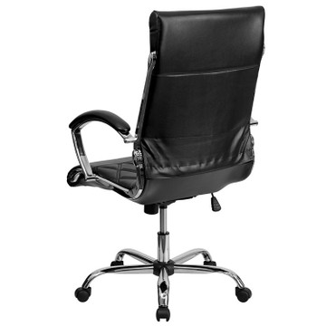 Des High Back Designer Black Leather Executive Swivel Chair with Chrome Base and Arms by Lemoderno
