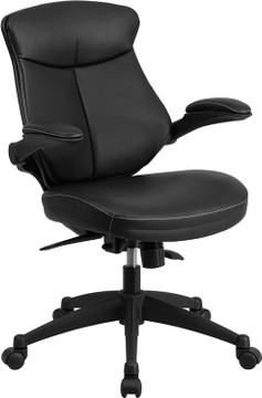 Flash Furniture Mid-Back Black Leather Executive Swivel Chair with Back Angle Adjustment and Flip-Up Arms