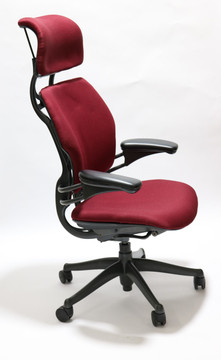 Refurbished Humanscale Freedom Chair Fully Adjustable Model With Headrest Burgundy
