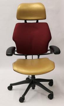 Freedom Chair By Humanscale Fully Adjustable Model With Headrest Gold/Burgundy