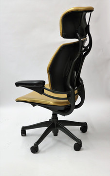 Refurbished Humanscale Freedom Chair Fully Adjustable Model With Headrest Gold Leather