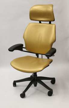 Freedom Chair By Humanscale Fully Adjustable Model With Headrest Gold