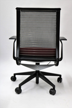 Steelcase Think Chair Burgundy Fabric Seat and Black mesh Great for Conference Room