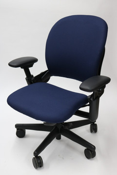 Steelcase Leap Chair In Navy Fabric + Pivot Arms