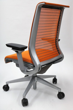 Think Chair By Steelcase Orange Color Fabric Seat and Mesh Platinum frame