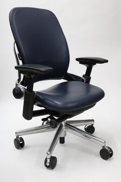 Leap Chair V2 By Steelcase Dark Navy Leather With Polished Aluminum Base