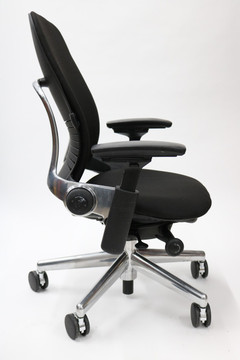 Leap Chair V2 By Steelcase Black Fabric Polished Aluminum Base With 4 Way Pivot Armrests