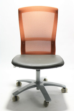 Life Chair By Knoll Leather Seat and Orange Mesh Back