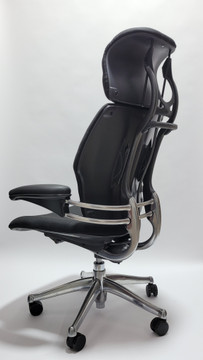 Humanscale Freedom Chair Fully Adjustable Model With Headrest Polished Frame and Black Leather