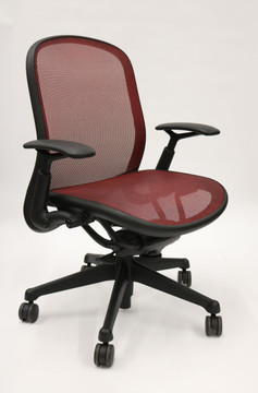 Chadwick Chair By Knoll Red Mesh Black Frame + Adjustable Arms