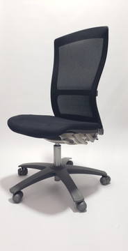 Knoll Life Chair Black Mesh Back and Black Fabric Seat No Arms