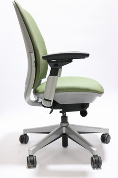 Steelcase Amia Chair Platinum Frame Mint Green Leather
