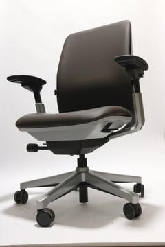Steelcase Amia Chair Platinum Frame Black Leather