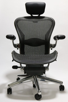 Herman Miller Aeron Executive Chair Size B Black with Polished Frame + Headrest