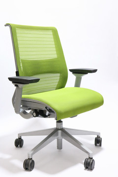 Refurbished Steelcase Think Chair Green Fabric Seat and Mesh Platinum frame