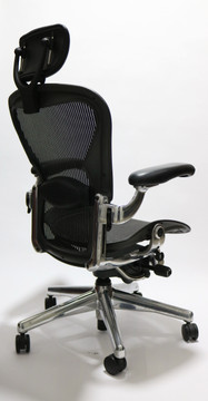 Herman Miller Aeron Executive Chair Size C Black with Polished Frame + Headrest