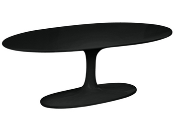 Tulip Flower Coffee Table Oval Black Fiberglass Top by Fine Mod Saarinen Style