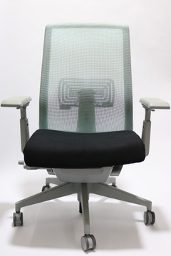 Haworth Very Chair Gray/Tint Green Mesh Back and Platinum Frame