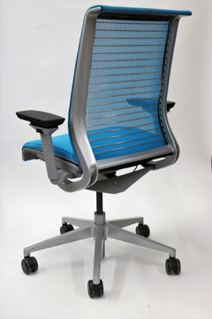 Steelcase Think Chair Aqua Color Fabric Seat and Mesh Platinum frame