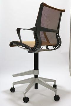 Refurbished Herman Miller Setu Stool Chair Brown As Pictured