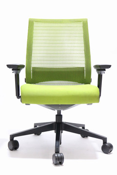 Think Chair By Steelcase Lime Green Color Fabric Seat and Mesh Black frame