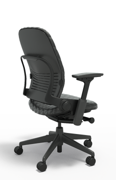 Steelcase Leap Chair V2 In Black Leather Diamond Couch Executive Model