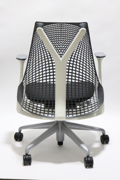 Herman Miller Sayl Chair Gray Back and Black Fabric Seat