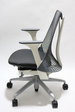 Refurbished Herman Miller Sayl Chair Gray Back and Black Leather Seat