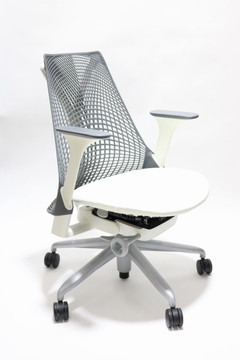 Herman Miller Sayl Chair Gray Back and White Leather Seat