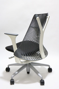 Herman Miller Sayl Chair Black Back and Black Fabric Seat