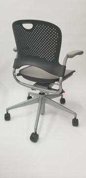 Herman Miller Caper Chair in Black and Gray Mesh Seat Black Star Base
