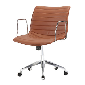 Comfy Office Chair Mid Back, Light Brown by Fine Mod