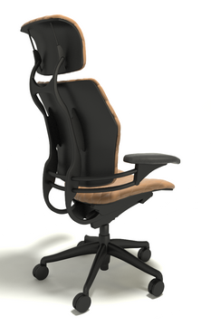 Humanscale Freedom Chair With Headrest Fully Adjustable Diamond Executive Model Light Brown Leather