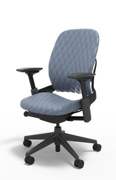 Steelcase Leap Chair V2 In Gray Leather Diamond Couch Executive Model