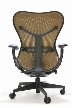 Herman Miller Mirra Chair Latitude Back Brown Mesh Back and Gray Mesh Seat