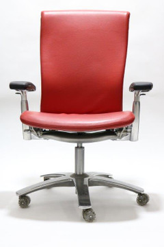 Knoll Life Chair Fully Adjustable Model Red Leather Seat and Red Leather Back