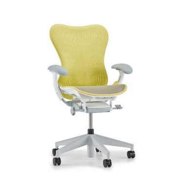 Herman Miller Mirra V2 Chair In Yellow Fully Adjustable Model With Adjustable Lumbar Support